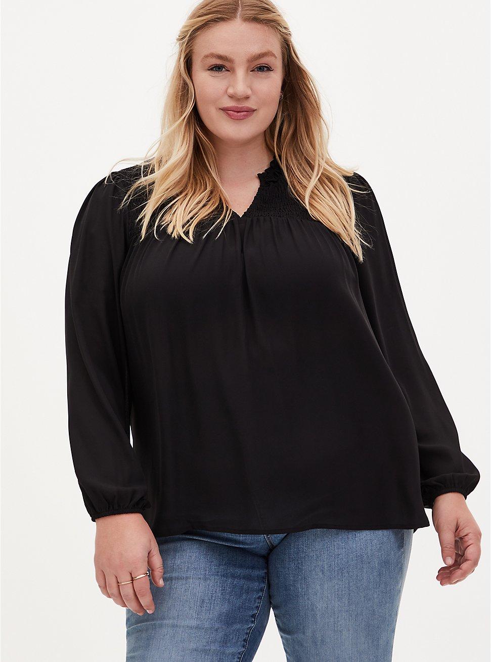 Black Georgette Lace Back Smocked Blouse , DEEP BLACK, hi-res