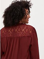 Rust Red Georgette Lace Back Smocked Blouse , MADDER BROWN, alternate