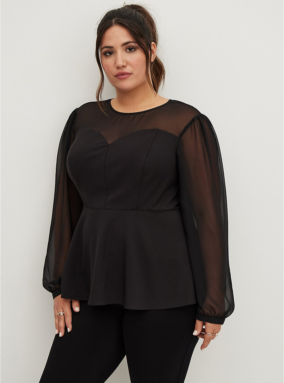 Black Crepe & Mesh Peplum Blouse , DEEP BLACK, hi-res
