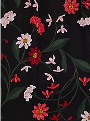 Georgette Black Floral Print Split Neck Blouse, FLORAL - BLACK, alternate