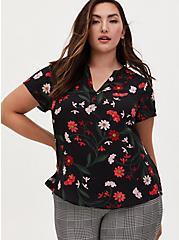 Georgette Black Floral Print Split Neck Blouse, FLORAL - BLACK, hi-res
