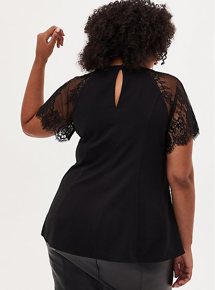 Black Crepe Lace Sleeve Fit and Flare Top, DEEP BLACK, alternate