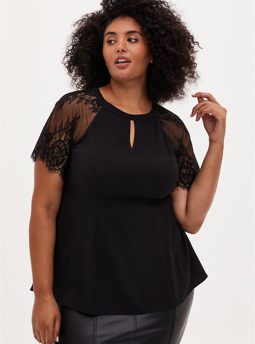 Black Crepe Lace Sleeve Fit and Flare Top, DEEP BLACK, hi-res
