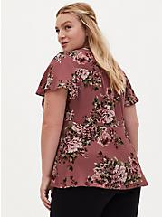 Walnut Floral Georgette Peplum Tie Front Blouse, FLORAL - PINK, alternate