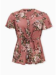 Walnut Floral Georgette Peplum Tie-Front Blouse, FLORAL - PINK, hi-res