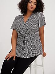 Black & White Houndstooth Georgette Peplum Tie Front Blouse , PLAID - GREY, alternate