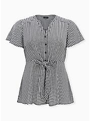 Black & White Houndstooth Georgette Peplum Tie Front Blouse , PLAID - GREY, hi-res