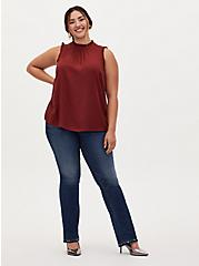 Brick Red Ruffle Trim Mock Neck Tank, MADDER BROWN, alternate