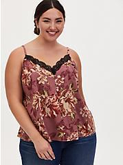 Walnut Floral & Black Lace Button Cami, FLORAL - BROWN, hi-res