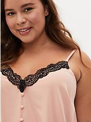 Peach & Black Lace Button Cami, PEACH BEIGE, alternate