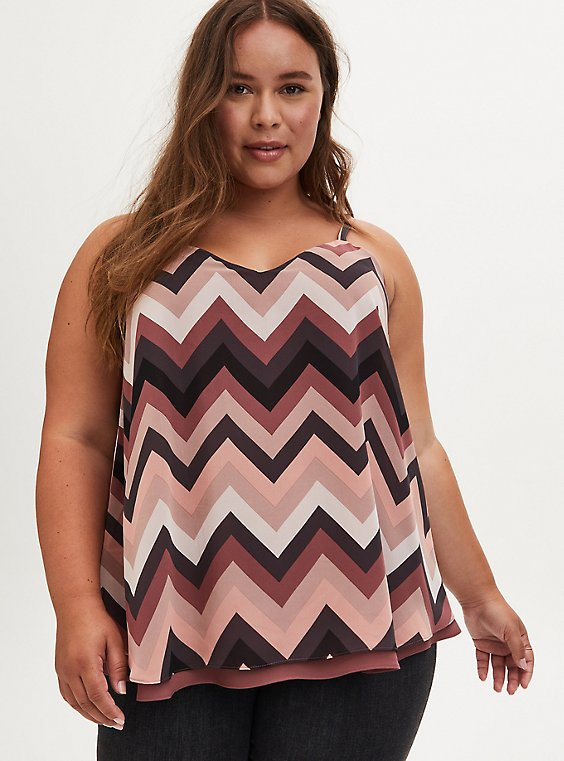 Sophie Chevron Stripe Chiffon Double Layer Swing Cami, , hi-res