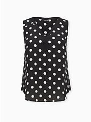 Black & White Dot Georgette Colorblock Tank, DOT -BLACK, hi-res