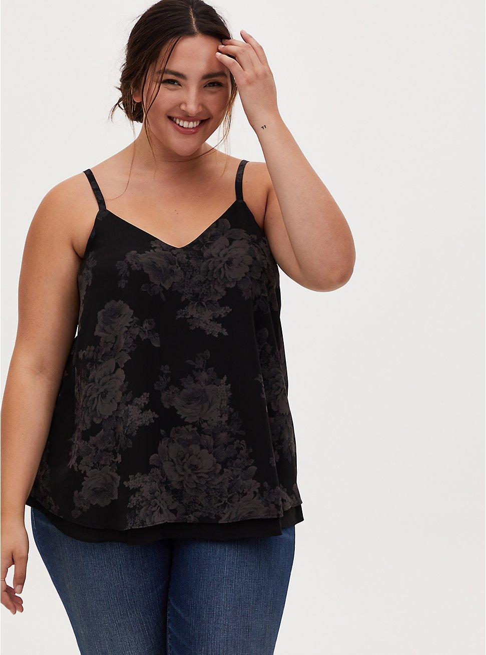 Sophie - Black Floral Chiffon Double Layer Cami, FLORAL - BLACK, hi-res