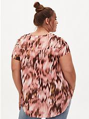 Georgette Multi Print Split Neck Blouse, MULTI, alternate