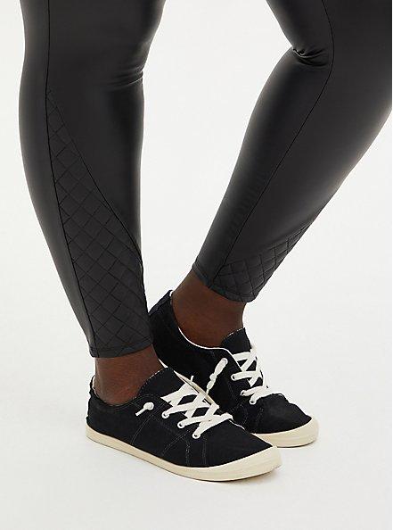 Plus Size Platinum Legging - Faux Leather Quilted Hem Black, BLACK, alternate