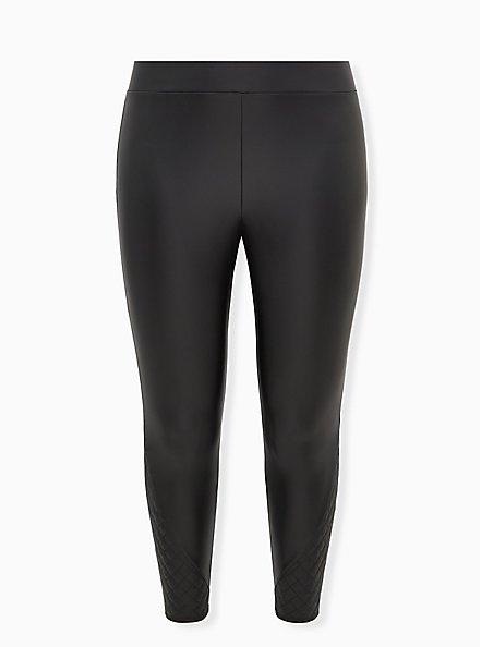Plus Size Platinum Legging - Faux Leather Quilted Hem Black, BLACK, hi-res