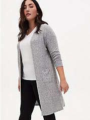 Plus Size Super Soft Plush Grey Open Front Longline Cardigan, HEATHER GREY, alternate