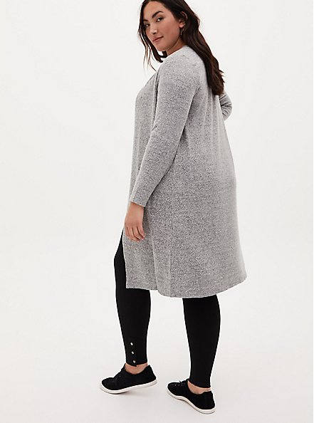 Super Soft Plush Grey Open Front Longline Cardigan, HEATHER GREY, alternate
