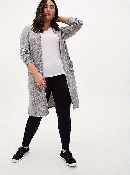 Super Soft Plush Grey Open Front Longline Cardigan, HEATHER GREY, hi-res