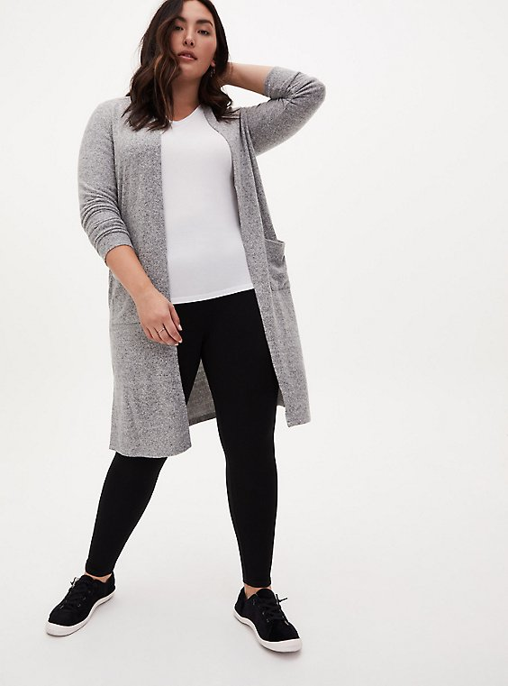 Plus Size Super Soft Plush Grey Open Front Longline Cardigan, HEATHER GREY, hi-res