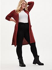 Plus Size Super Soft Plush Rust Red Open Front Longline Cardigan, MADDER BROWN, alternate
