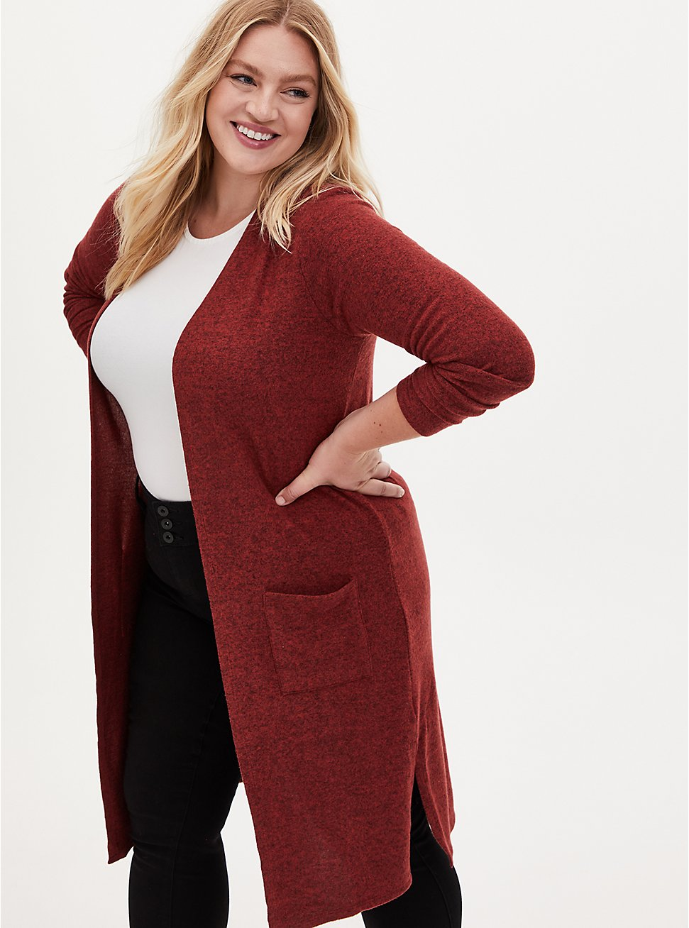 Plus Size Super Soft Plush Rust Red Open Front Longline Cardigan, MADDER BROWN, hi-res