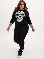 Black Skull Raglan Pullover Sweater, DEEP BLACK, alternate