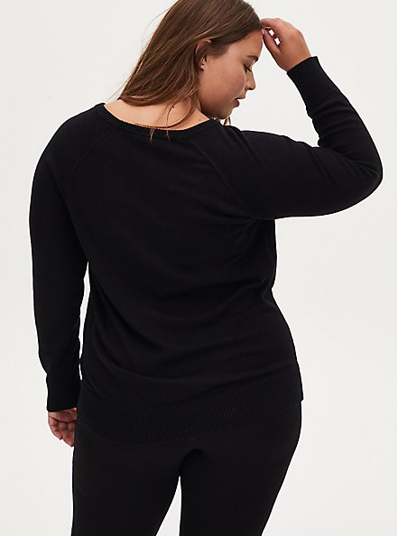 Black Skull Raglan Sweater, DEEP BLACK, alternate