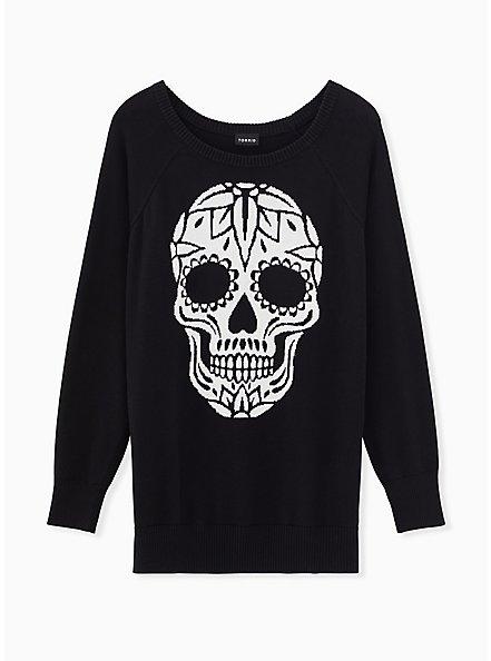 Black Skull Raglan Sweater, DEEP BLACK, hi-res