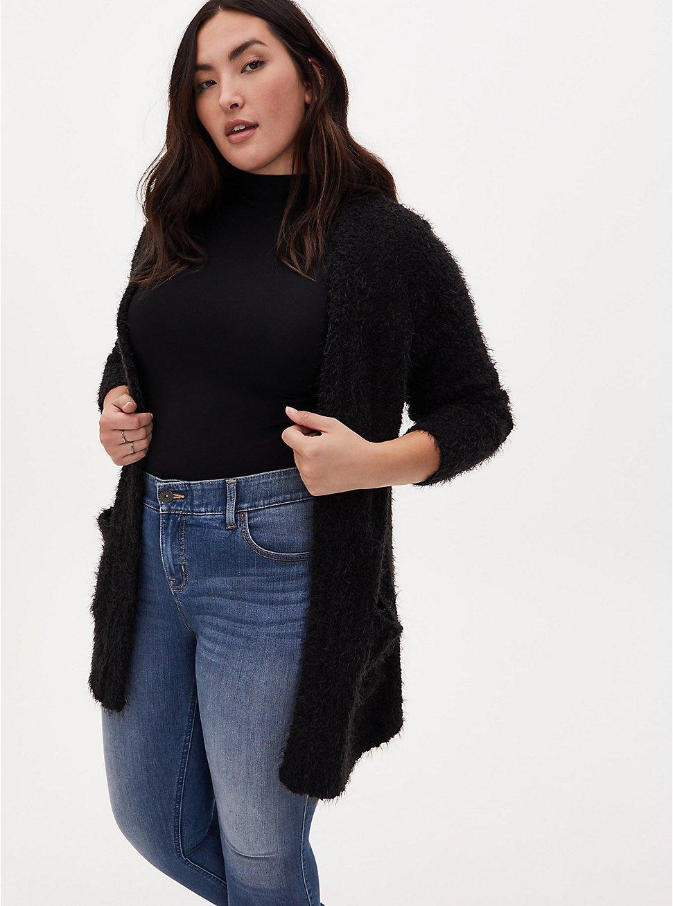 Black Fuzzy Popcorn Open Front Cardigan, DEEP BLACK, hi-res
