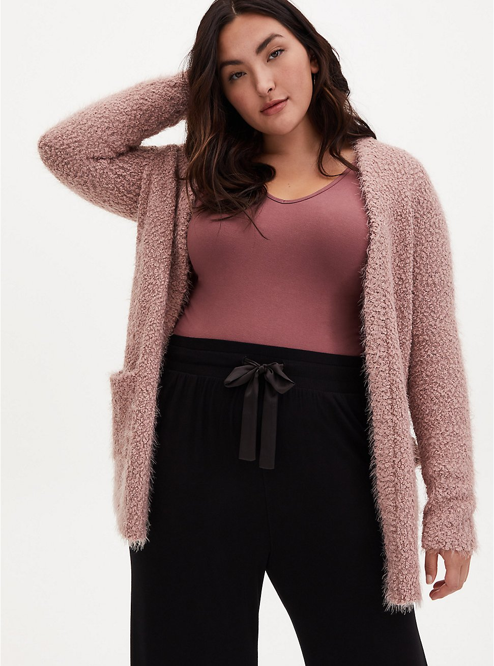 Light Pink Fuzzy Open Front Cardigan, FAWN, hi-res