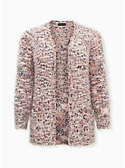 Fuzzy Multicolor Popcorn Knit Open Front Cardigan, IVORY, hi-res