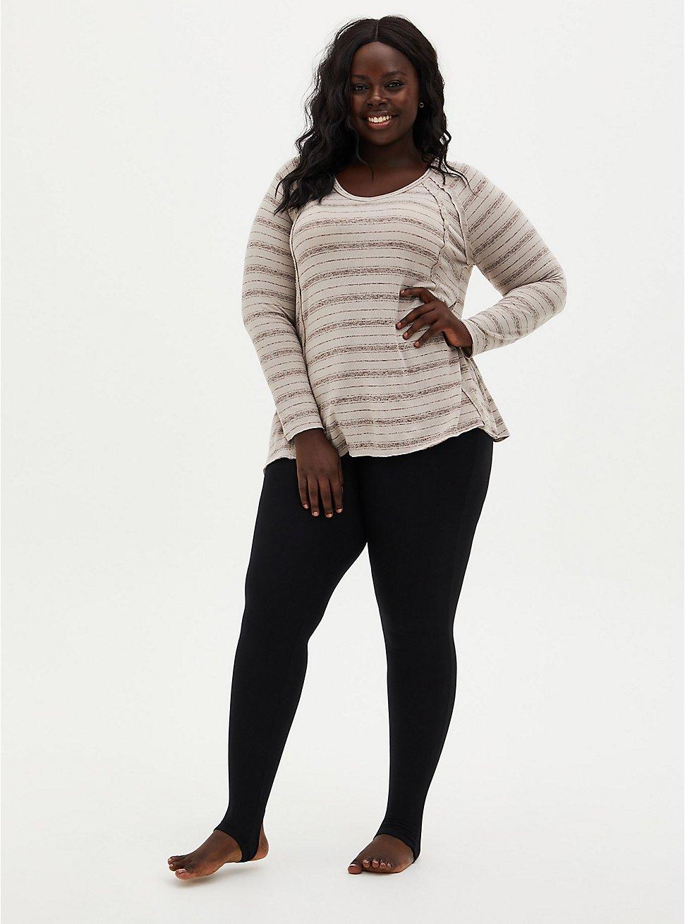 Platinum Stirrup Leggings - Fleece Lined Black  , BLACK, hi-res