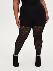 Black Geometric Lace Legging, BLACK, alternate