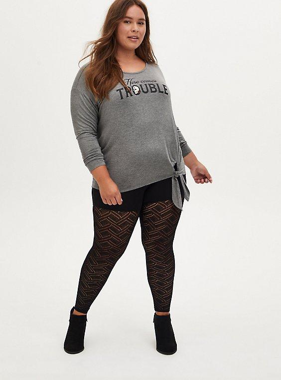 Black Geometric Lace Legging, , hi-res