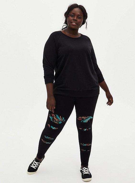 Premium Legging - Slashed Multi Brushstrokes Underlay Black, , hi-res