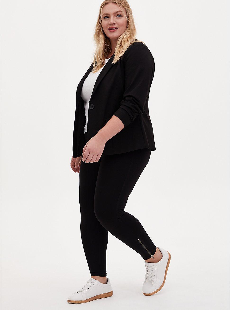 Platinum Zip Legging - Ponte Black, BLACK, hi-res