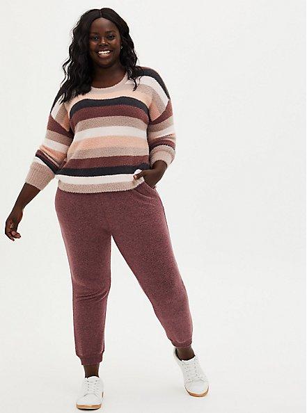 Stripe Drop Shoulder Fuzzy Yarn Crop Sweater, MULTI STRIPE, alternate