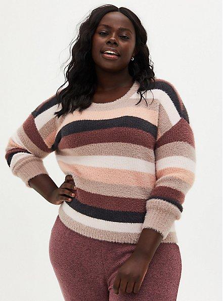 Stripe Drop Shoulder Fuzzy Yarn Crop Sweater, MULTI STRIPE, hi-res