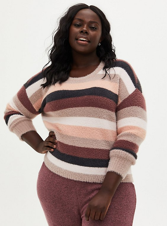 Stripe Drop Shoulder Fuzzy Yarn Crop Pullover, MULTI STRIPE, hi-res