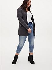 Super Soft Plush Charcoal Grey Hooded Cardigan, CHARCOAL  GREY, alternate
