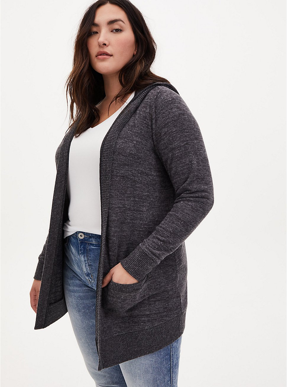 Super Soft Plush Charcoal Grey Open Front Hooded Cardigan, CHARCOAL  GREY, hi-res