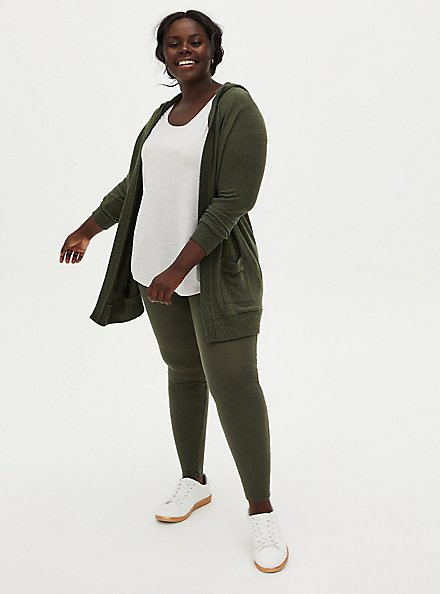 Super Soft Plush Olive Green Hooded Cardigan, DEEP DEPTHS, alternate