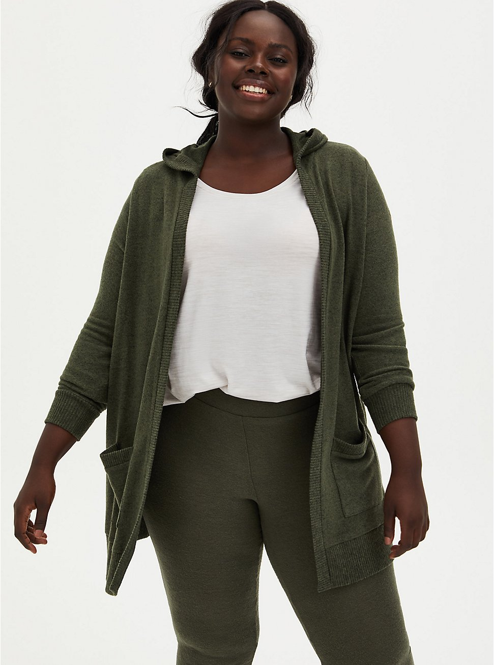 Super Soft Plush Olive Green Hooded Cardigan, DEEP DEPTHS, hi-res