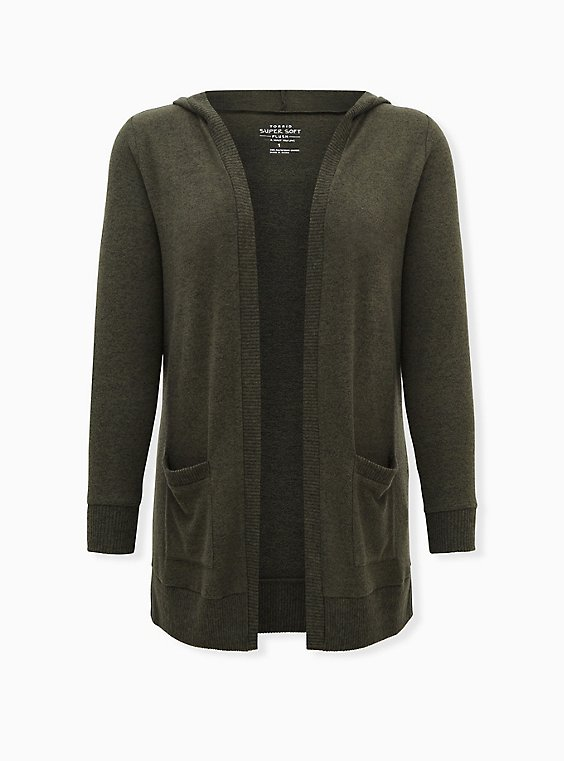 Super Soft Plush Charcoal Olive Green Open Front Hooded Cardigan, DEEP DEPTHS, ls
