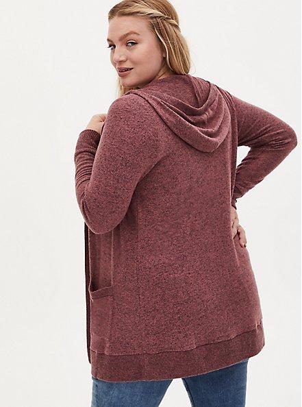 Super Soft Plush Walnut Hooded Cardigan, ROSE BROWN, alternate