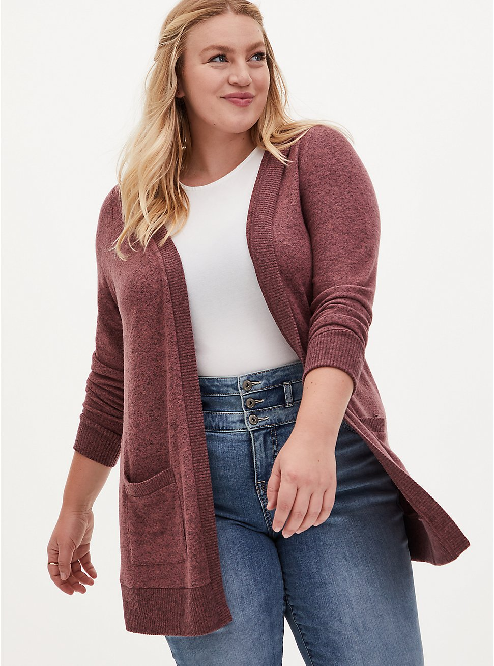 Super Soft Plush Walnut Hooded Cardigan, ROSE BROWN, hi-res