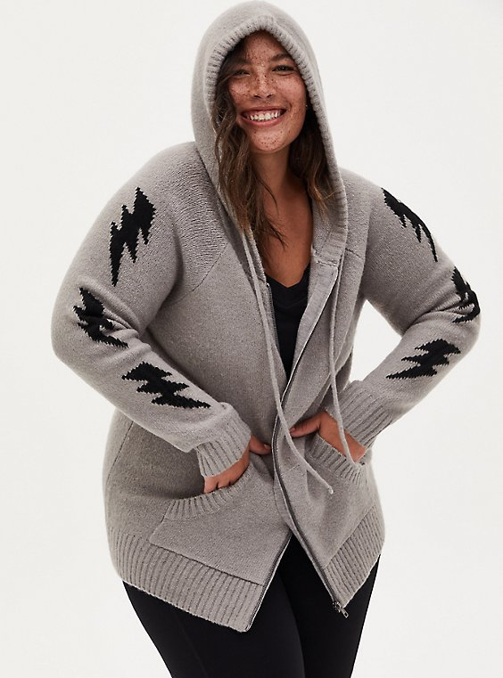 Grey Bolt Hooded Cardigan, HEATHER GREY, hi-res