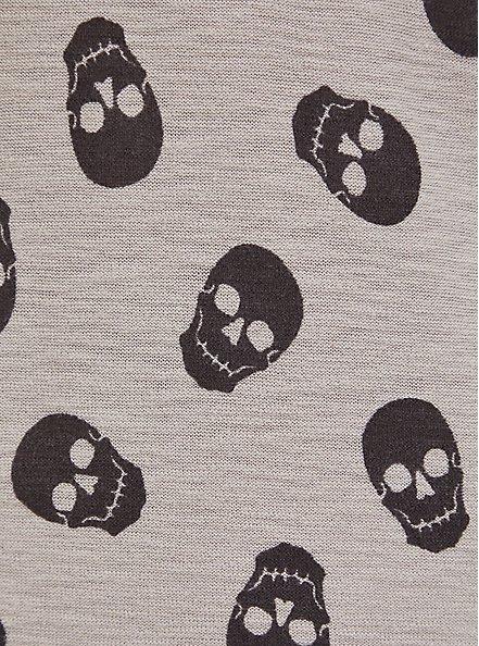 Grey Skull Print Slub Boyfriend Button Front Cardigan, MULTI, alternate