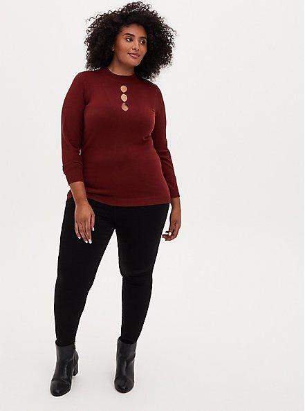 Brick Red Mock Neck Keyhole Pullover Sweater, MADDER BROWN, alternate